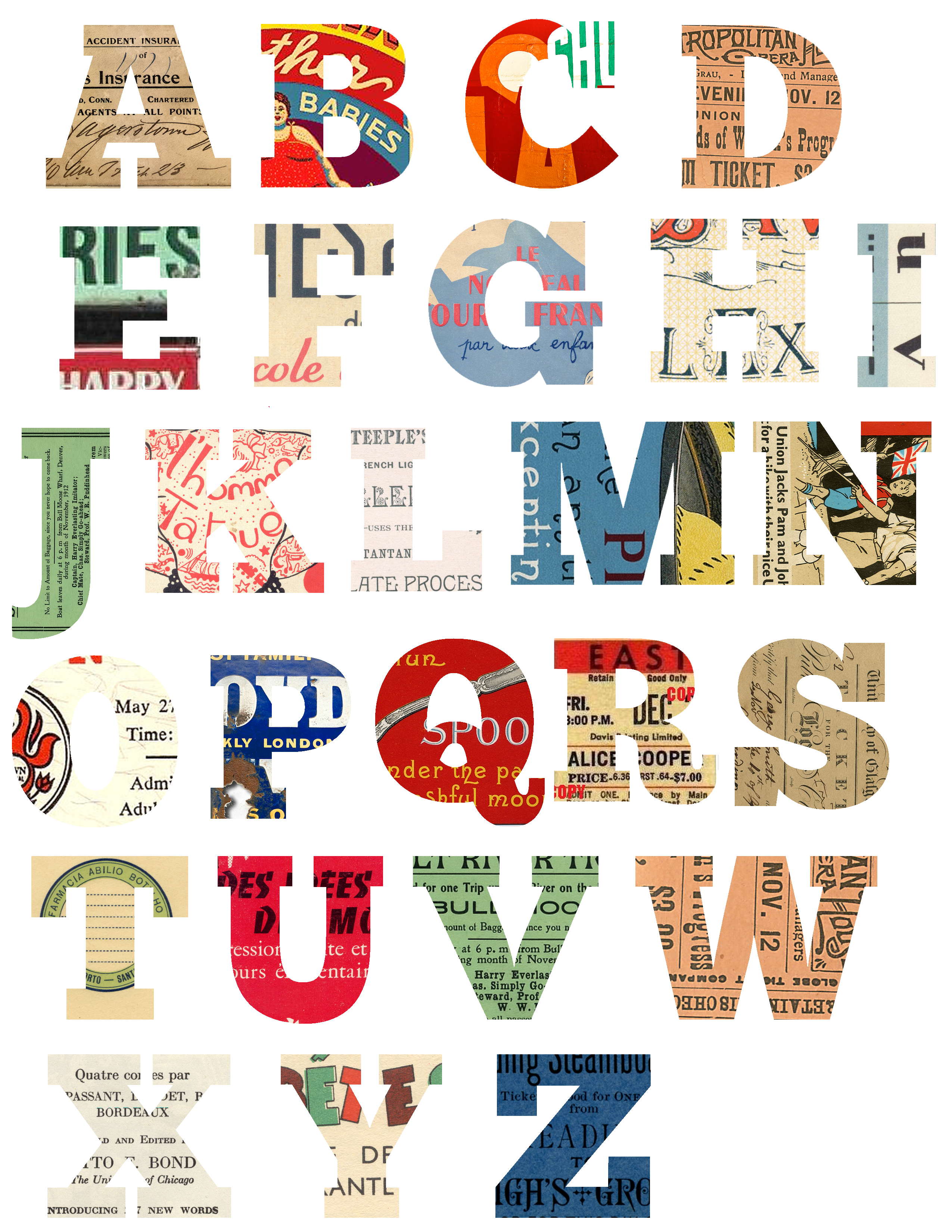 How to scrapbook letters - Alphabet Free Printable