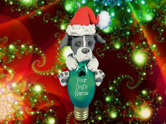 Blue and white Pit Bull Terrier Santa Dog Christmas Light Bulb Ornament Sally's Bits of Clay PERSONALIZED FREE