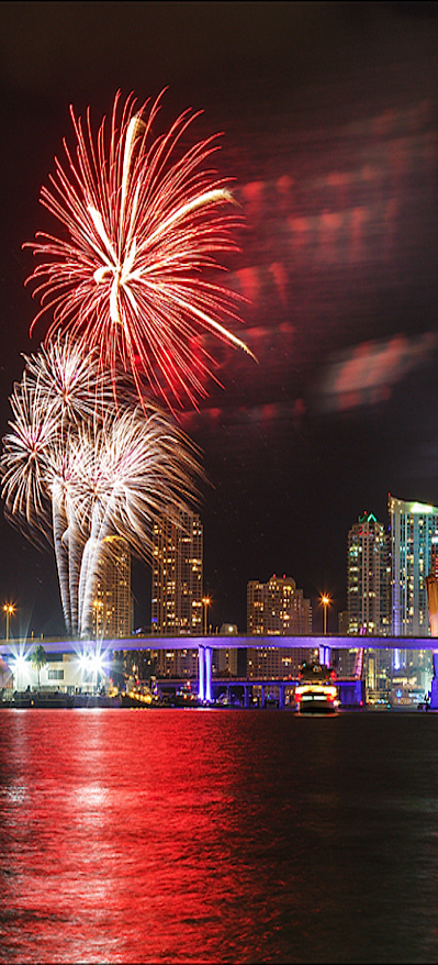 New Year's fireworks over the water Miami cynthia