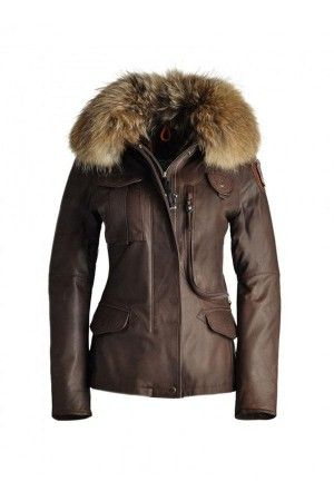 Womens Parajumpers Denali Leather Jackets Brown Off, Cheap Sale Online.