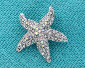 Starfish Brooch Beach Destination Wedding Bridal Bridesmaid Sash Cake Clutch Bouquet Brooches DIY Crafts Jewelry Silver Starfish Broach