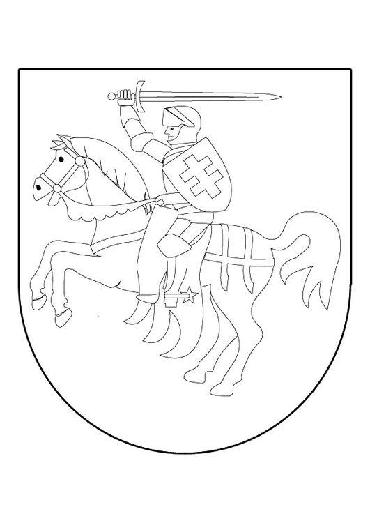 malvorlage ritter zu pferd auf schild  coat of arms