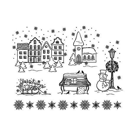 Planche de tampon clear village d 39 hiver saison hiver noel village de noel et dessin noel - Village de noel dessin ...