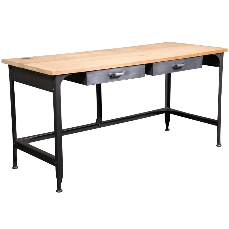 Original Vintage Industrial American Made Student Desk With Two