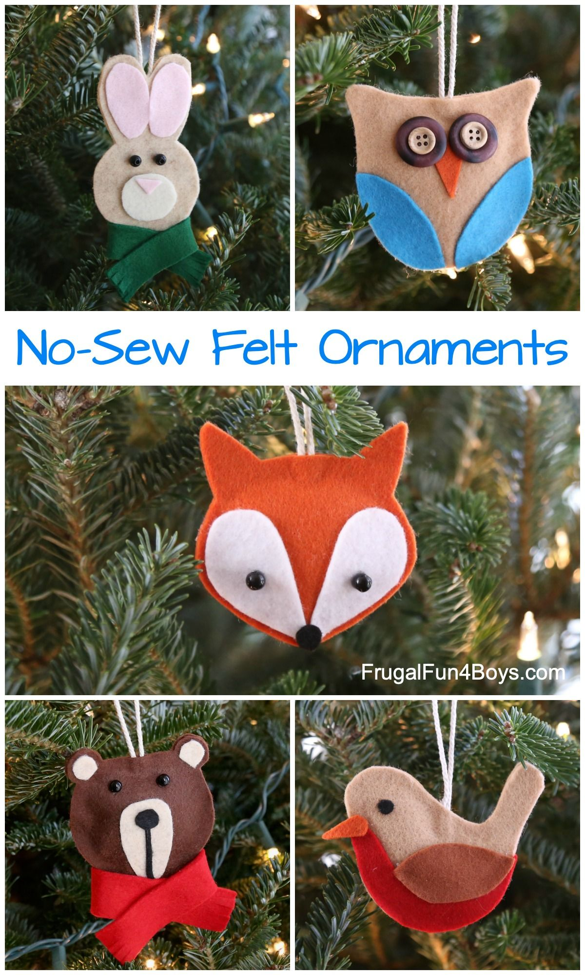 The Cutest Ever No-Sew Felt Woodland Animal Christmas Ornaments #feltchristmasornaments