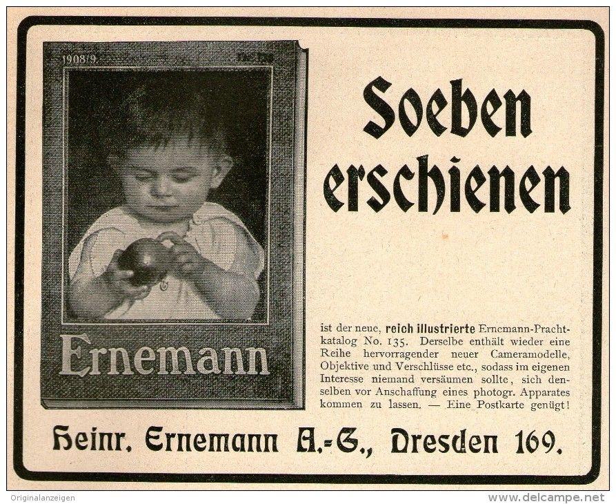 Original-Werbung/ Anzeige 1908 - ERNEMANN CAMERAS / KATALOG - ca. 140 x 110 mm