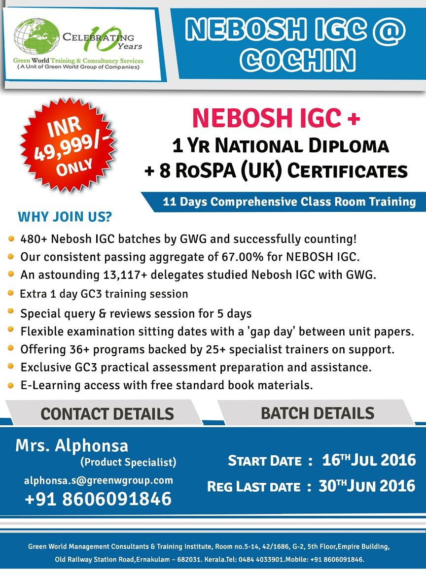 Pin By Health And Safety Training Course On Nebosh Course In India