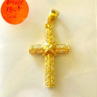 18k yellow gold cross pendant with cubic zirconia size including 18k yellow gold cross pendant with cubic zirconia size including 8mm loop 38mm aloadofball Gallery