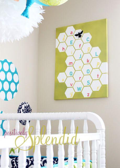 Honeycomb alphabet canvas - Design Dazzle
