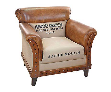 fauteuil cuir et tissus beige et naturel d co industrielle pinterest fauteuil cuir. Black Bedroom Furniture Sets. Home Design Ideas