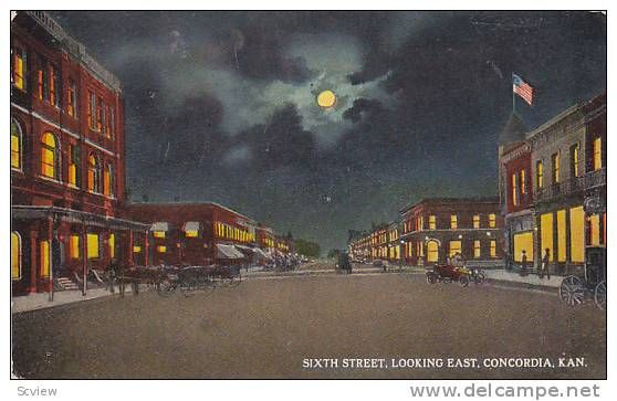 Postcard Main Street, Looking West in Clyde, Kansas~117311