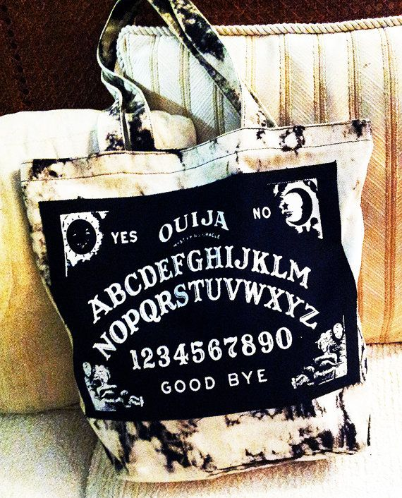 Black and White Hand Bleached Canvas Ouija Tote Bag