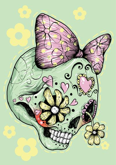 Sugar Skull (Green) Art Print