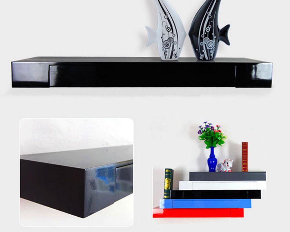Details About Floating Drawer Shelf Storage Bookcase