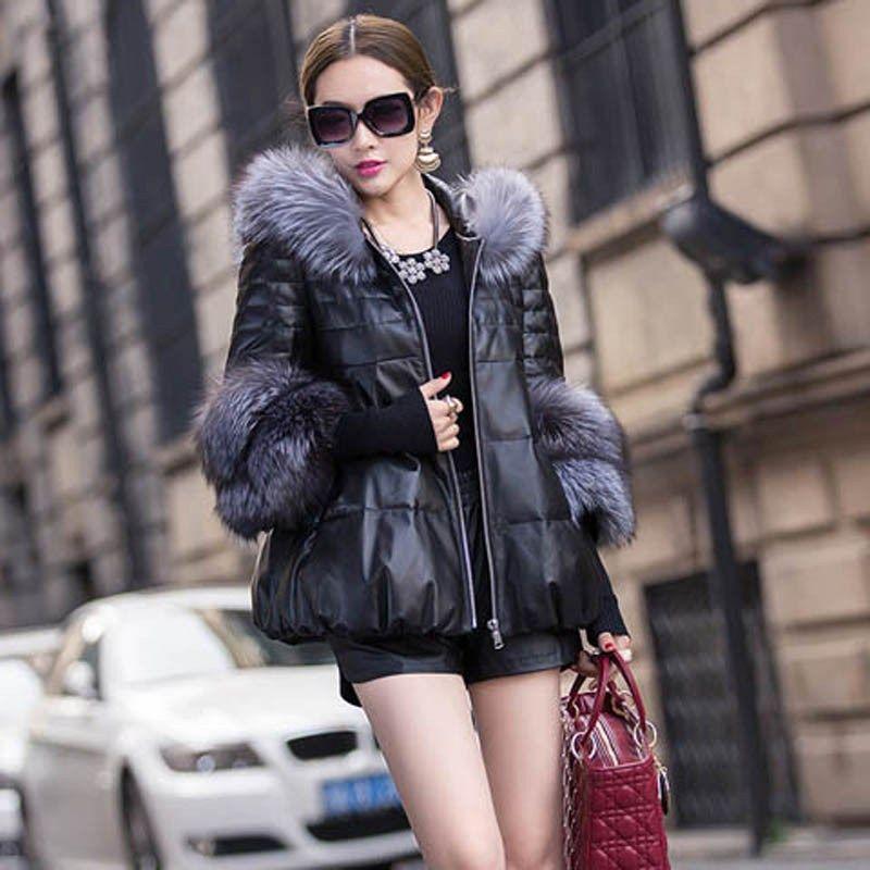 Women Super Large Luxury Real Silver Fox Fur Collar Jacket