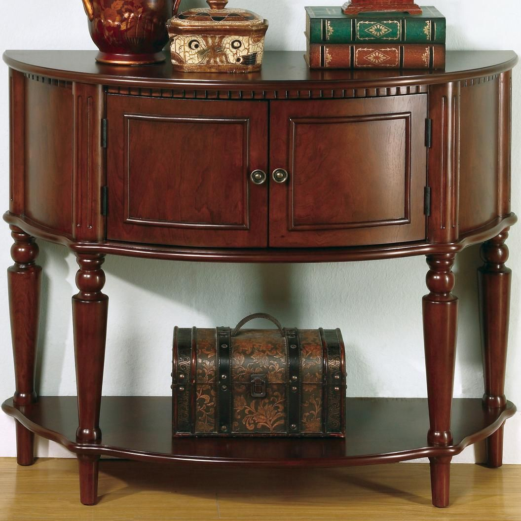 Accent Tables Brown Entry Table With Curved Front Inlay Shelf By