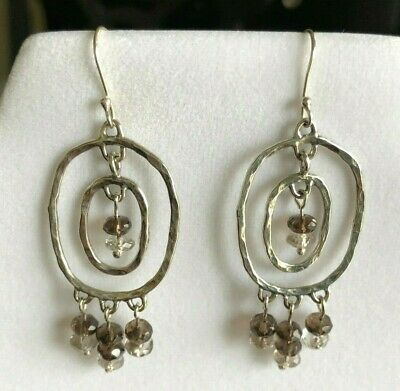 Artisan Handcrafted Sterling Silver Smoky Quartz Dangle Earrings NEW #smokyquartz