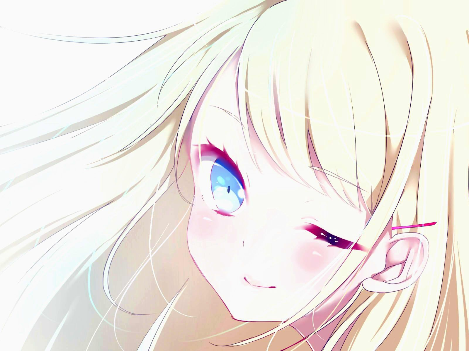 Anime Picture 1600x1200 With Original Fuu 07199382 Long Hair Single Blush Looking At Viewer Blue Eyes Anime Anime Love Anime Expressions