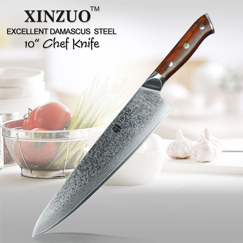 Xinzuo 10 Inch Chef Knife Japanese Damascus Steel Kitchen Knife Professional Gyuto Knife Damascus Steel Kitchen Knives Kitchen Knives Damascus Kitchen Knives