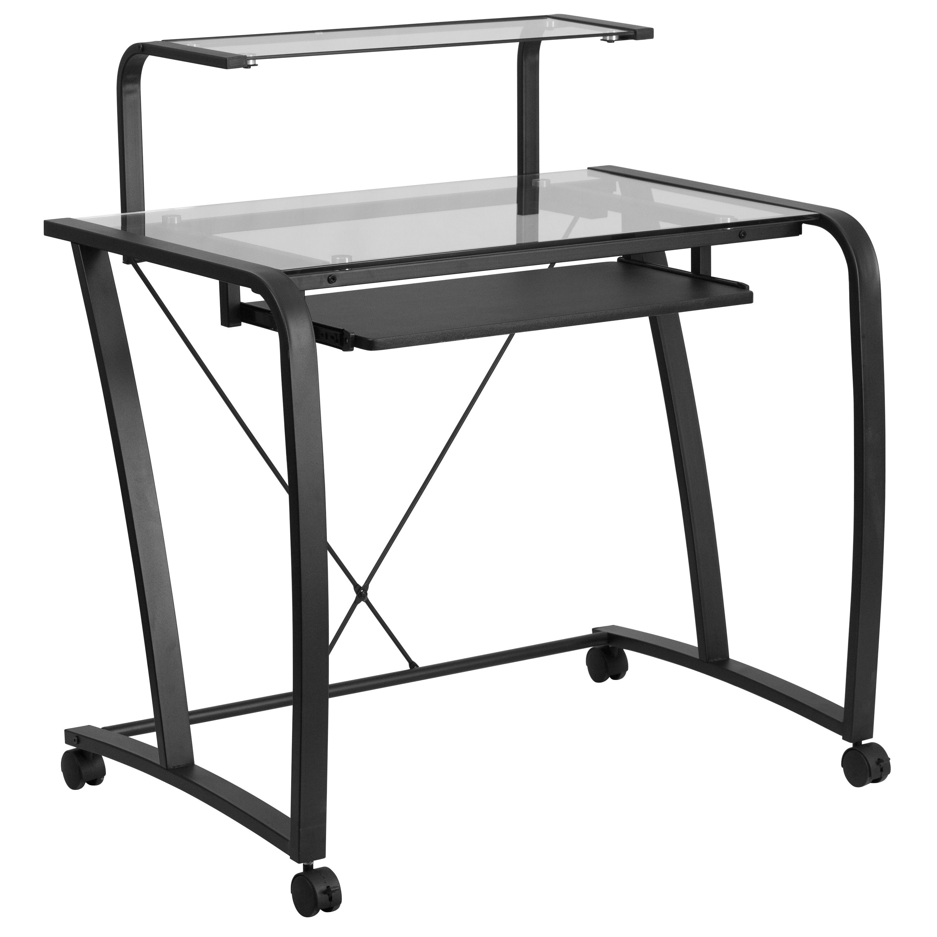 Mobile Glass Computer Desk With Pull  Out Keyboard Tray