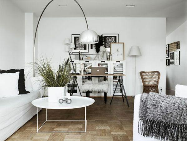 wohnzimmer skandinavisches design weiß silber bodenlampe ...