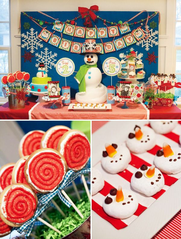 Festive Winter Wonderland Joint Birthday Party Hostess With The Mostess Christmas Birthday Party Boy Birthday Decorations Kids Christmas Party