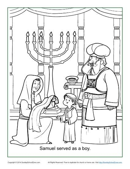 Samuel Served as a Boy Coloring Page | Children\'s Bible Coloring ...