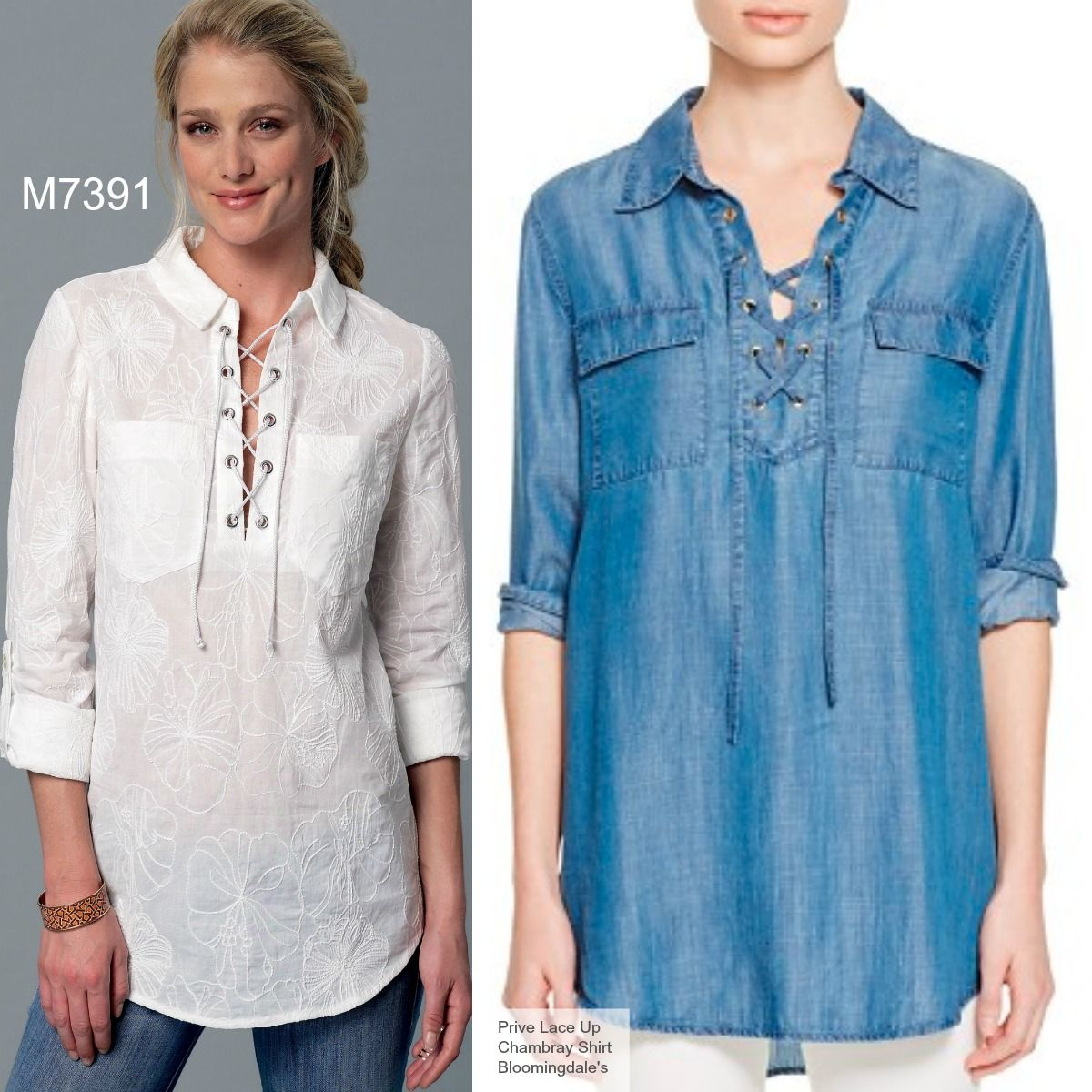 Sew the Look: Lace-up neckline shirt or tunic. M7391 McCall\'s ...