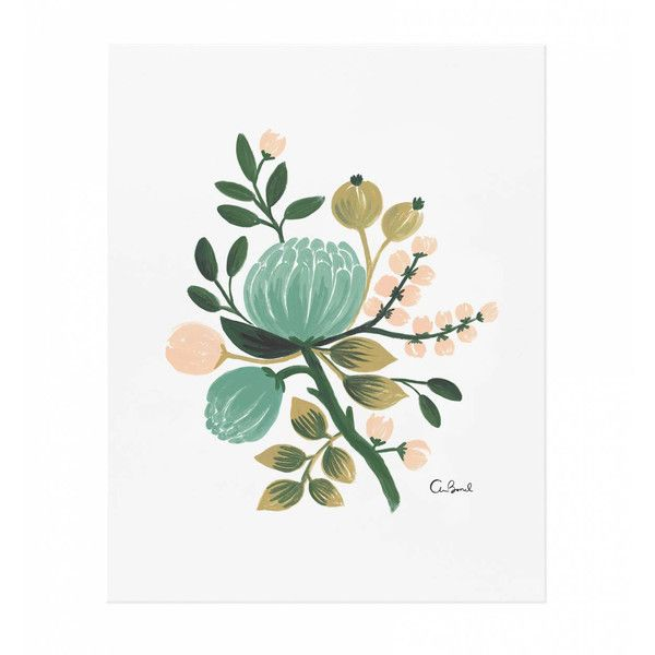 Dot & Bo Blue Buds Art Print ($24) ❤ liked on Polyvore featuring home, home decor, wall art, gouache painting, blue floral wall art, floral wall art, floral paintings and floral home decor