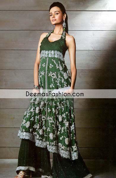 5e55976898 Bottle Green Aline Frock & Flapper Party Wear Dress | Wedding ...