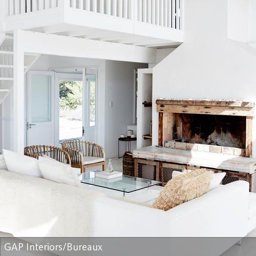 Offenes Wohnzimmer mit Kamin Kombination, Romantisch und Wirken - wohnzimmer ideen romantisch