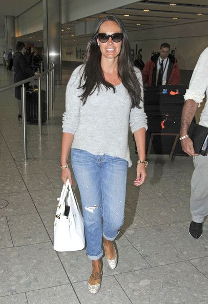 Tamara Ecclestone strolling through the airport carrying one of her many Birkins