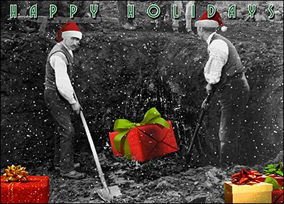 Shovel laborers christmas card glossy white 2013 support small personalize laborers greeting cards online ziti cards m4hsunfo