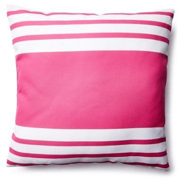 Check out this item at One Kings Lane! Fun Stripe 20x20 Outdoor Pillow, Pink