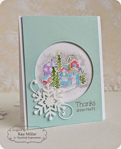 Baby, It's Cold Outside stamp set and Make a Snowflake dies: TE, winter, Kay miller