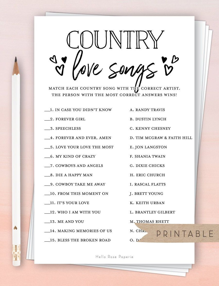Country Love Songs Trivia Game . Rustic Bridal Shower Printable . Wedding Shower . Rustic Kraft + Black and White . Instant Digital Download -   19 ressional wedding Songs ideas