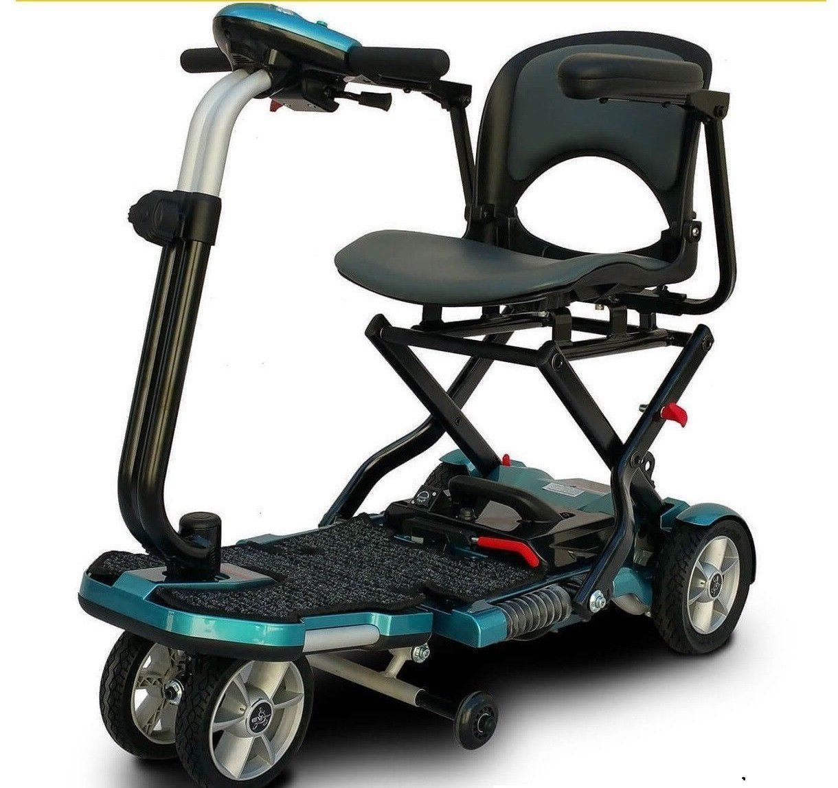 Ev Rider Transport Plus Folding Power Mobility Electric Travel Scooter Blue With Images Folding Mobility Scooter
