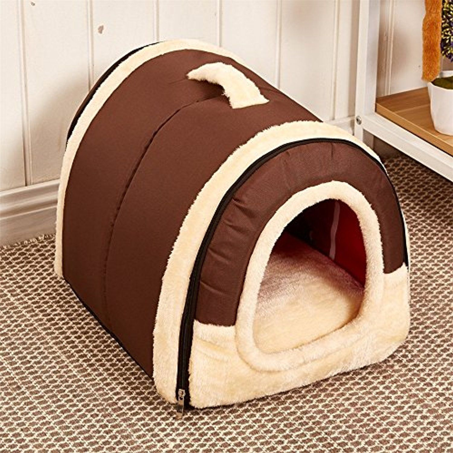 Velimax 2 In 1 Pet House Non Slip Windproof Bottom Cats Pet Tent Pet Cover 2 In 3 Pet House Handbag Shape For Dogs Dog Dog Pet Beds Puppy Beds Dog House Bed