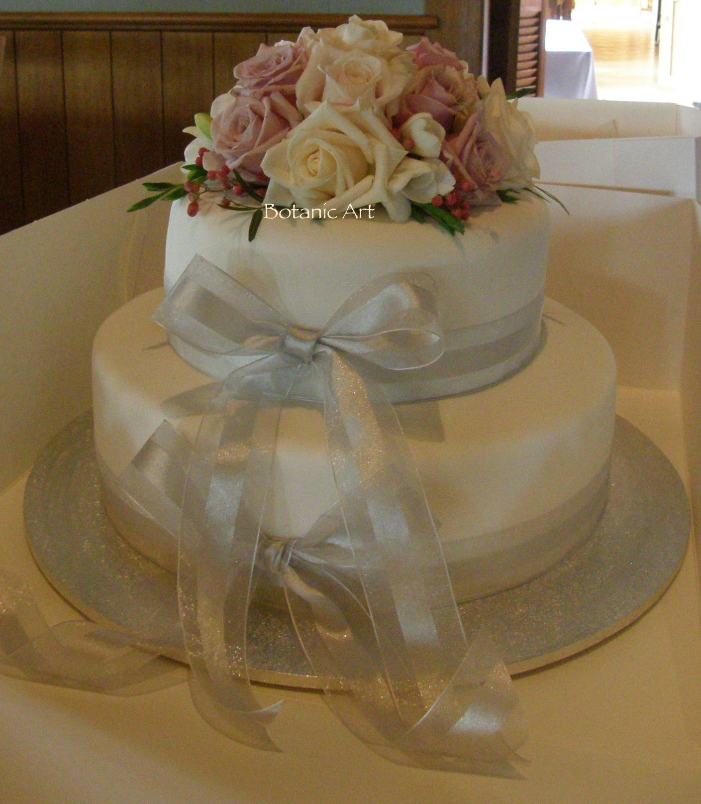 2 Tier Round Fondant Wedding Cake Ribbon Detail With Long Tails A Simple Fresh