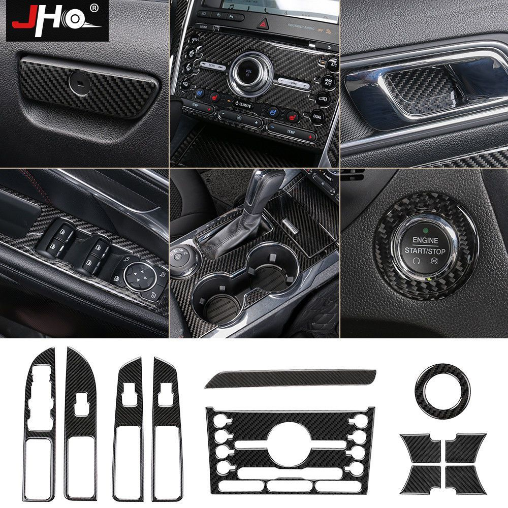 Set Interior Real Carbon Fiber Cover Trim Decor For Ford