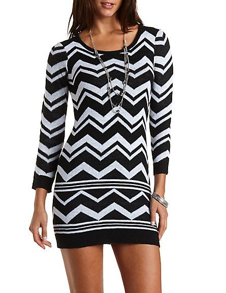 130e9b56e45 Chevron Stripe Sweater Dress  Charlotte Russe  charlotterusse   charlottelook  chevron  sweaterdress