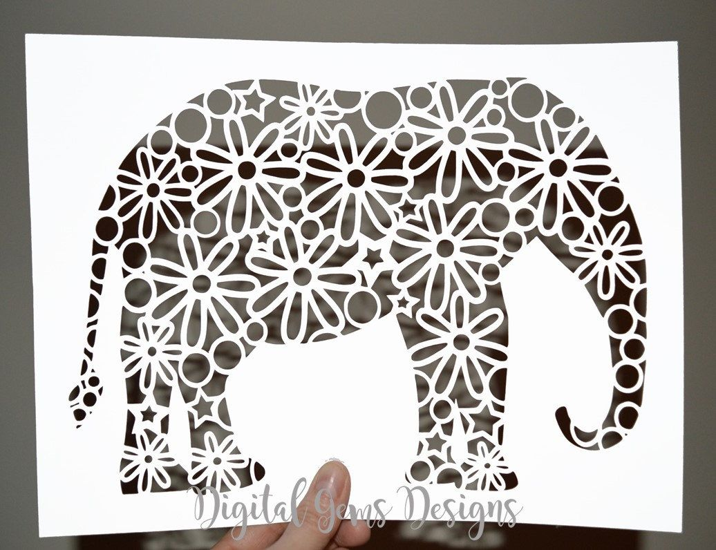 Elephant Flower Design Paper Cut Template, SVG / DXF Cutting File ...