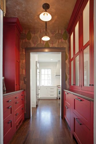 Butler area. I like how the red is toned down with the lighting and moody wallpaper - even on the ceiling