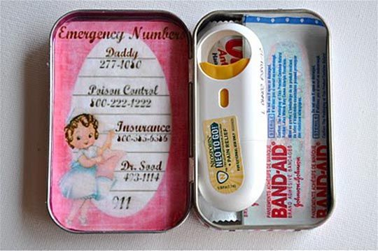 """Such a cute idea! Emergency """"boo-boo"""" kit to keep in a purse, kids backpack, etc."""