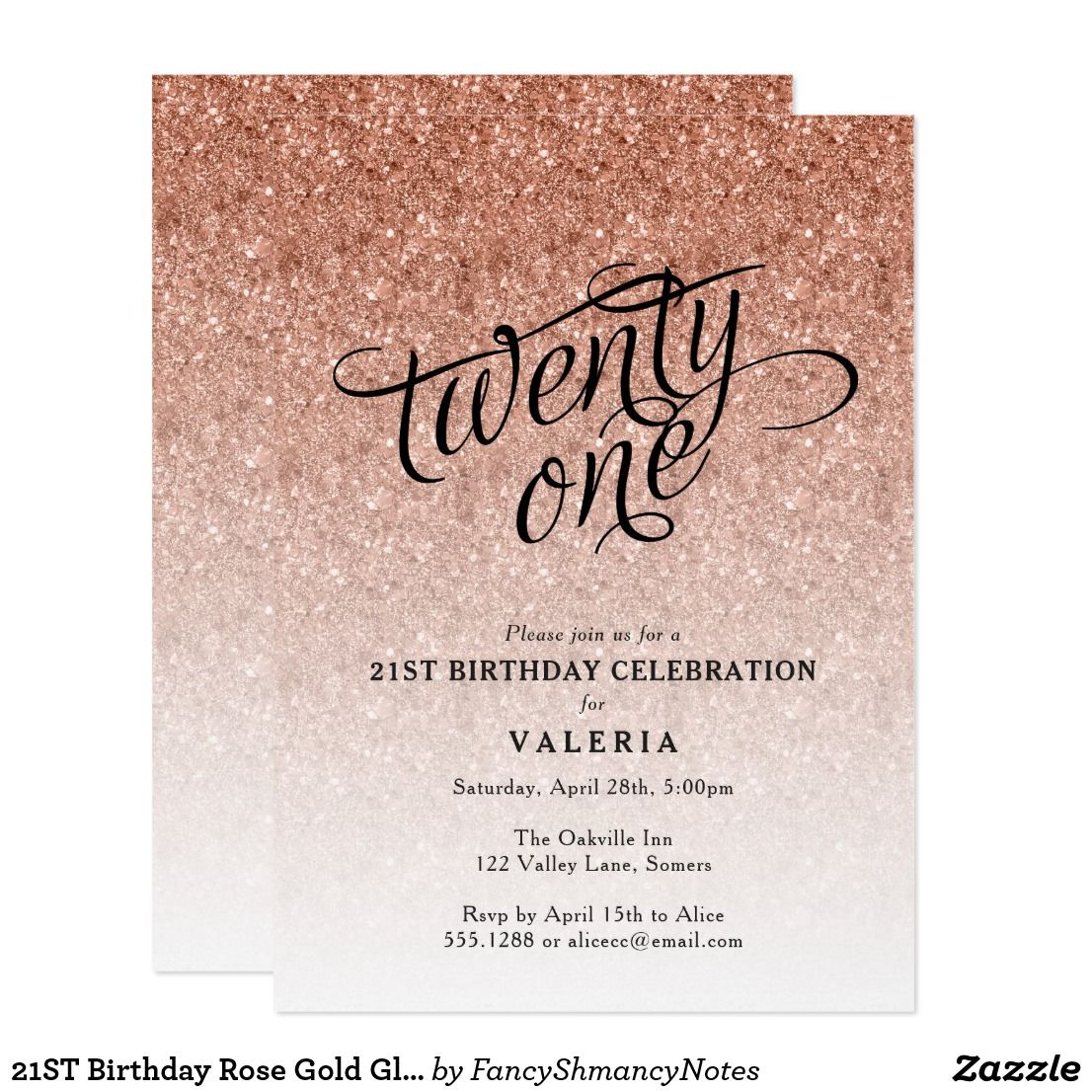 21ST Birthday Rose Gold Glitter Invitation This Trendy Ombre Party Features Faux Sparkly And A Fancy