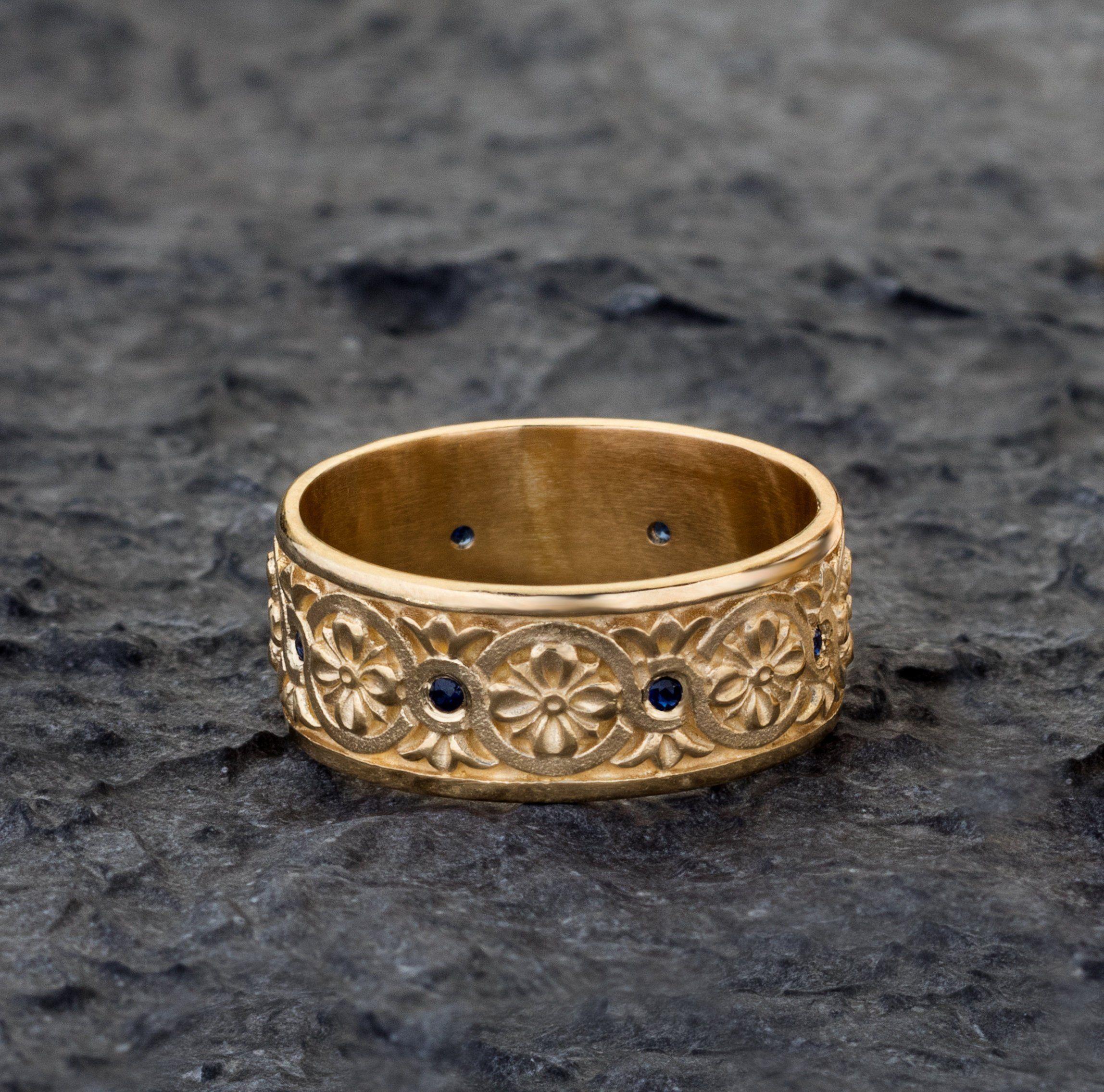 Floral Celtic Knot solid gold band, engraved mens wedding