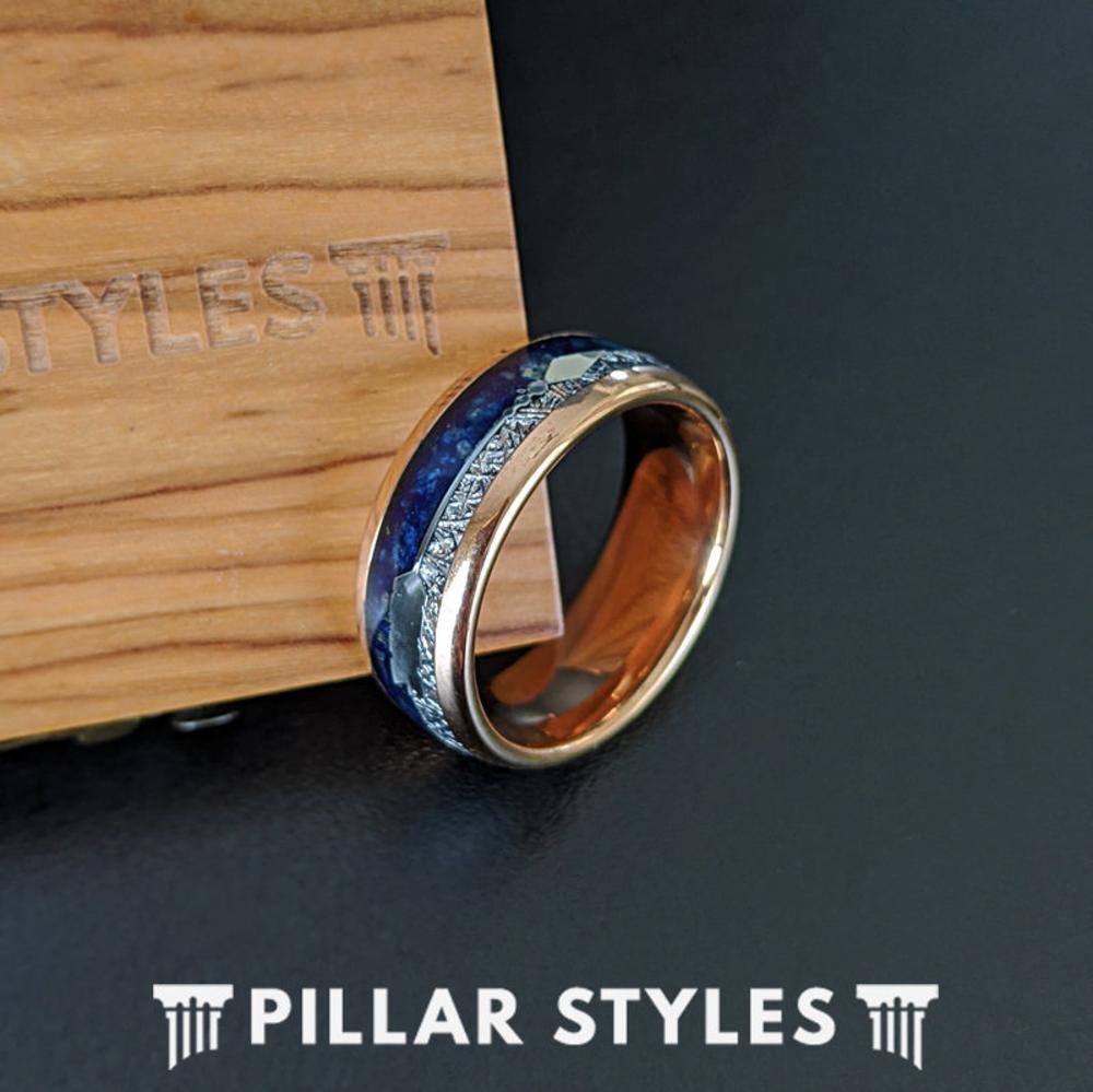 18K Rose Gold Lapis Lazuli Ring Arrow Meteorite Ring Mens
