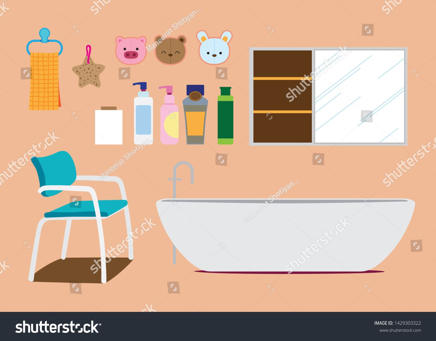 Bathroom object and furniture Vector illustration