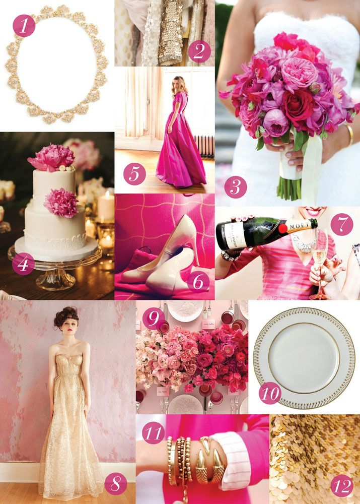 Inspiration Board For The Kensington Wedding Invitation Suite By Dauphine Press Design Features Fuchsia Pink Letterpress Ink And Gold Foil Stamping