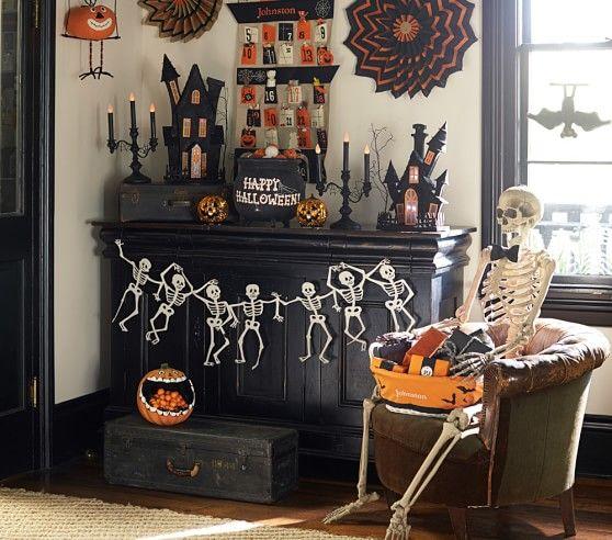 felt skeleton garland pottery barn kids - Pottery Barn Halloween Decor
